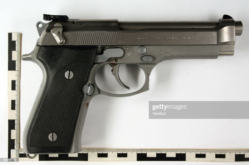 In this handout picture provided by the German Police the murder weapon of Tim Kretschmer type Beretta is seen on March 12 2009 in Winnenden near...