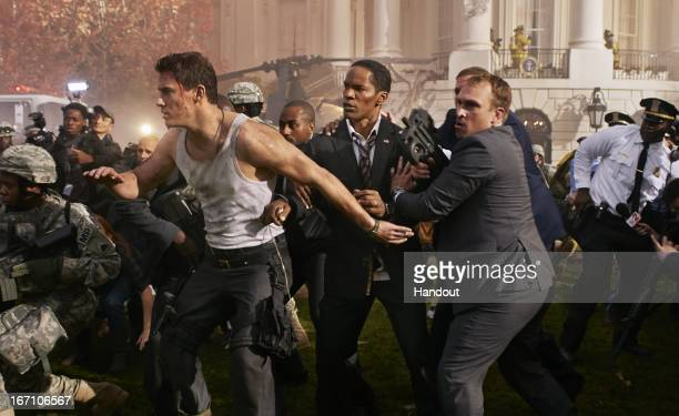 In this handout production photo provided by Sony Pictures Entertainment Jamie Foxx and Channing Tatum portray President James Sawyer and John Cale...