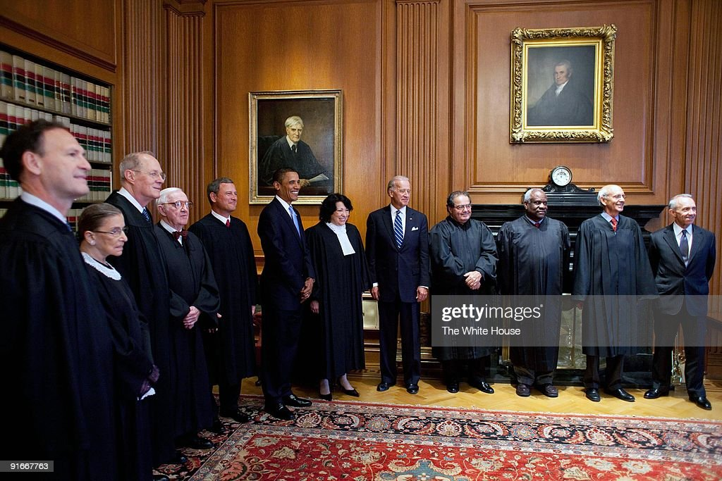 In this handout provide by the White House, U.S. (7th-L) and Vice President Joe Biden (5th-L) meet with Supreme Court Justices (L-R) Associate Justices <a gi-track='captionPersonalityLinkClicked' href=/galleries/search?phrase=Samuel+Alito&family=editorial&specificpeople=274708 ng-click='$event.stopPropagation()'>Samuel Alito</a>, <a gi-track='captionPersonalityLinkClicked' href=/galleries/search?phrase=Ruth+Bader+Ginsburg&family=editorial&specificpeople=199152 ng-click='$event.stopPropagation()'>Ruth Bader Ginsburg</a>, Anthony M. Kennedy, <a gi-track='captionPersonalityLinkClicked' href=/galleries/search?phrase=John+Paul+Stevens&family=editorial&specificpeople=218002 ng-click='$event.stopPropagation()'>John Paul Stevens</a>, Chief Justice John Roberts, President <a gi-track='captionPersonalityLinkClicked' href=/galleries/search?phrase=Barack+Obama&family=editorial&specificpeople=203260 ng-click='$event.stopPropagation()'>Barack Obama</a>, Associate Justice <a gi-track='captionPersonalityLinkClicked' href=/galleries/search?phrase=Sonia+Sotomayor&family=editorial&specificpeople=5872777 ng-click='$event.stopPropagation()'>Sonia Sotomayor</a>, Vice President Joe Biden, Associate Justices <a gi-track='captionPersonalityLinkClicked' href=/galleries/search?phrase=Antonin+Scalia&family=editorial&specificpeople=215620 ng-click='$event.stopPropagation()'>Antonin Scalia</a>, <a gi-track='captionPersonalityLinkClicked' href=/galleries/search?phrase=Clarence+Thomas+-+Judge&family=editorial&specificpeople=217528 ng-click='$event.stopPropagation()'>Clarence Thomas</a>, <a gi-track='captionPersonalityLinkClicked' href=/galleries/search?phrase=Stephen+Breyer+-+Judge&family=editorial&specificpeople=227411 ng-click='$event.stopPropagation()'>Stephen Breyer</a>, and retired Associate Justice David Souter prior to the investiture ceremony for Justice <a gi-track='captionPersonalityLinkClicked' href=/galleries/search?phrase=Sonia+Sotomayor&family=editorial&specificpeople=5872777 ng-clic