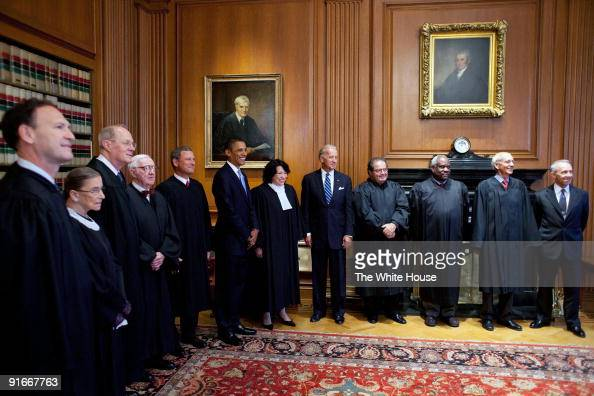 In this handout provide by the White House US and Vice President Joe Biden meet with Supreme Court Justices Associate Justices Samuel Alito Ruth...
