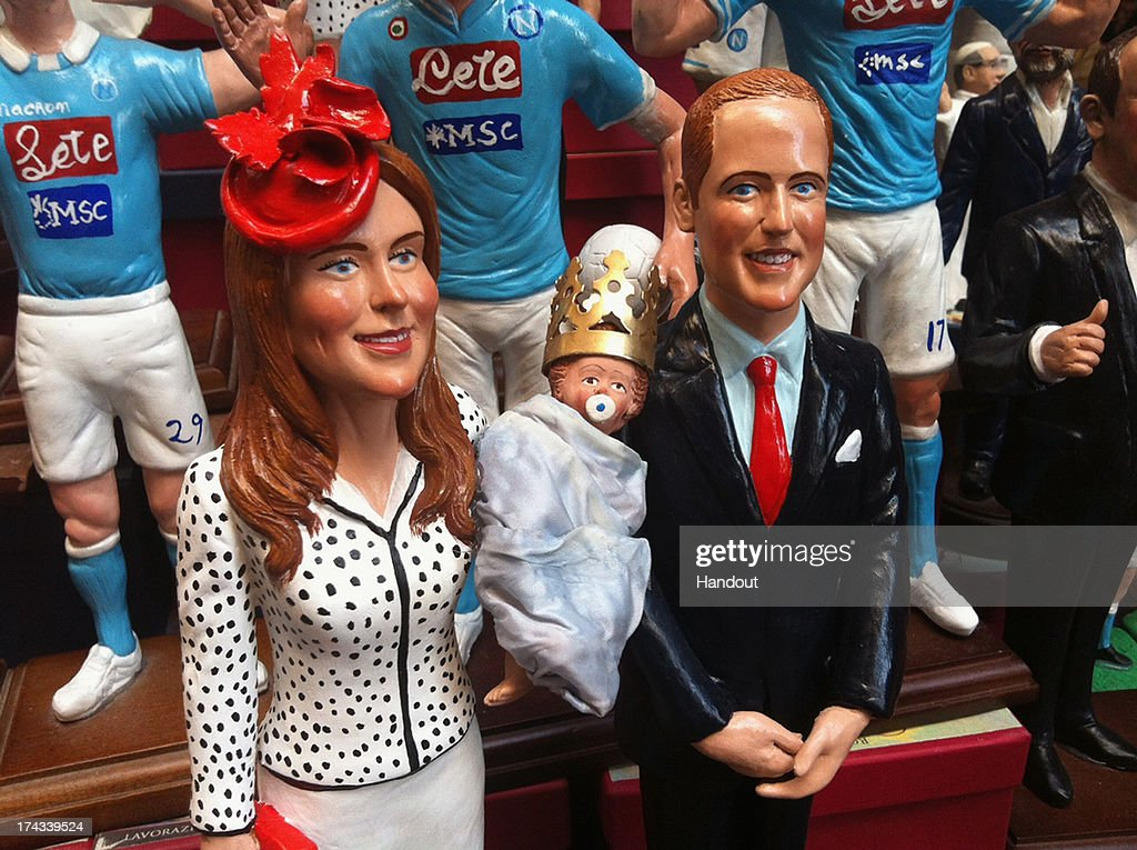 In this handout provided by artist Genny di Virgilio, commemorative figurines depicting Catherine, the Duchess of Cambridge and Prince William, Duke of Cambridge, following the birth of their son are displayed at San Gregorio Armeno on July 24, 2013 in Naples, Italy. The Duchess of Cambridge gave birth to a boy on July 22 at 16.24 BST and weighing 8 lb 6oz, with Prince William at her side.