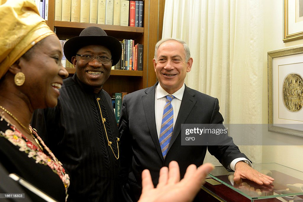In this handout provided by GPO, Israeli Prime Minister Benjamin Netanyahu (R) gives President of Nigeria Goodluck Jonathan (C) a tour at the Prime Minister's Office October 28, 2013 in Jerusalem, Israel. On his first ever state visit to Israel, Jonathan spoke on combating against terrorism and ensuring stable economic relations between the two countries.