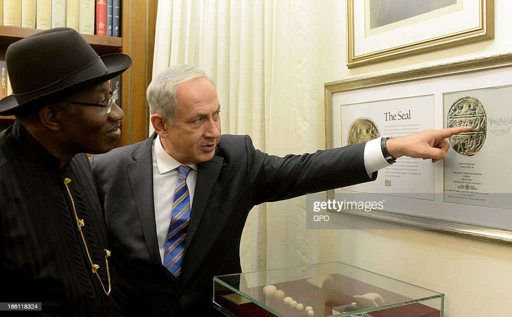 In this handout provided by GPO, Israeli Prime Minister Benjamin Netanyahu (R) gives President of Nigeria Goodluck Jonathan (L) a tour at the Prime Minister's Office October 28, 2013 in Jerusalem, Israel. On his first ever state visit to Israel, Jonathan spoke on combating against terrorism and ensuring stable economic relations between the two countries.