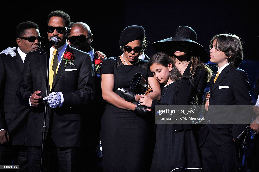 In this handout provided by Harrison Funk and Kevin Mazur, Jackie Jackson, Marlon Jackson, Randy Jackson, Janet Jackson, Paris Jackson, La Toya and Prince Michael Jackson attend Michael Jackson's Public Memorial Service held at Staples Center on July 7, 2009 in Los Angeles, California.