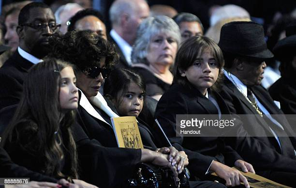 In this handout provided by Harrison Funk and Kevin Mazur Paris Jackson Katherine Jackson Prince Michael Jackson II Prince Michael Jackson Joe...