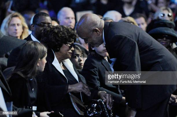 In this handout provided by Harrison Funk and Kevin Mazur Paris Jackson Katherine Jackson Prince Michael Jackson II and Berry Gordy attend Michael...