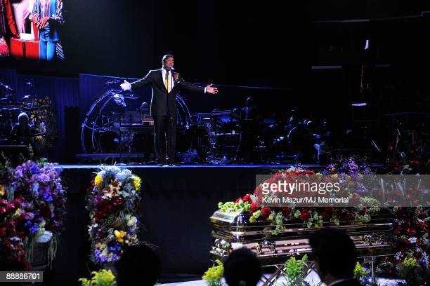 In this handout provided by Harrison Funk and Kevin Mazur Singer Jermaine Jackson attends Michael Jackson's Public Memorial Service held at Staples...