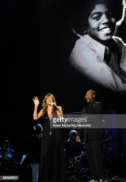 In this handout provided by Harrison Funk and Kevin Mazur singer Mariah Carey attends Michael Jackson's Public Memorial Service held at Staples...