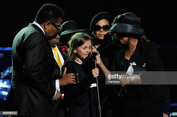In this handout provided by Harrison Funk and Kevin Mazur Tito Jackson Randy Jackson Paris Jackson Janet Jackson and Rebbie Jackson attend Michael...