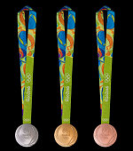 In this handout provided by Jogos Rio 2016 the front of the gold silver and bronze medals for the 2016 Summer Olympics is shown June 8 2016 in Rio de...