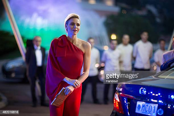 In this handout provided by Le Palais Princier Princess Charlene of Monaco arrives at the Monaco Red Cross Gala on July 25 2015 in MonteCarlo Monaco