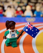 In this handout provided by LEGO Australia a LEGO recreation of Cathy Freeman winning gold in the 400m at the 2000 Sydney Olympic Games on August 26...