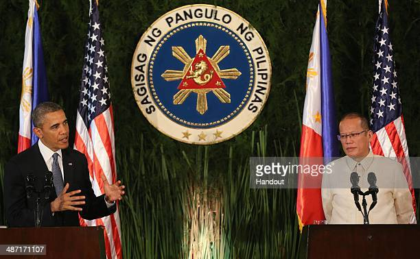 In this handout provided by Malacanang Photo Bureau' US president Barack Obama attends a joint press conference with Philippine President Benigno...