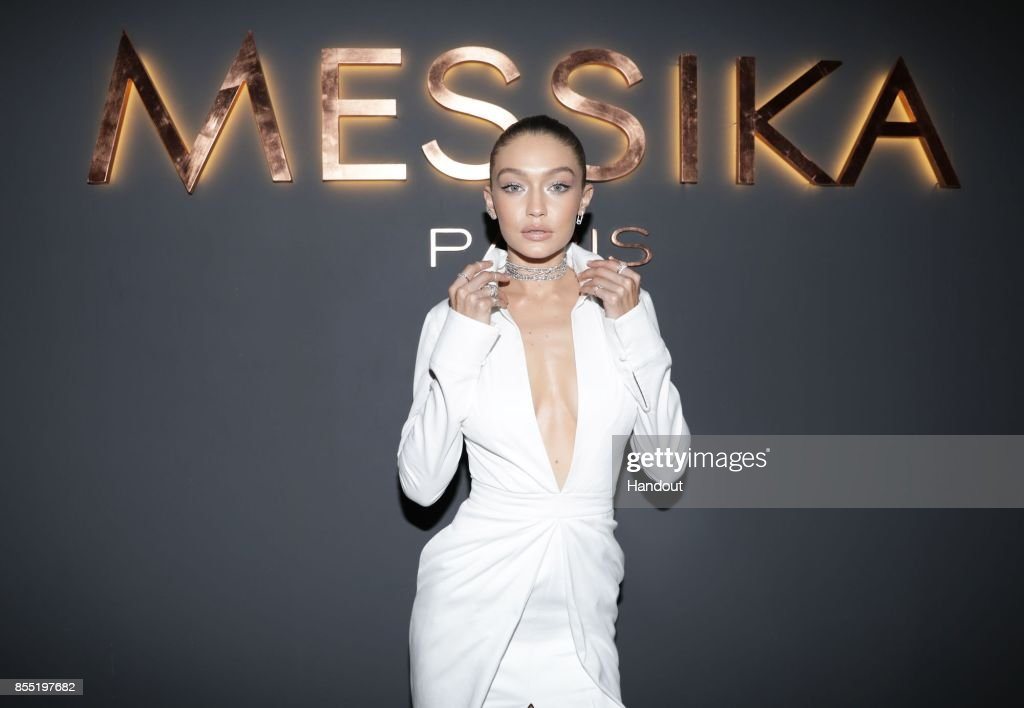 In this handout provided by Messika, Gigi Hadid attends the Messika cocktail as part of the Paris Fashion Week Womenswear Spring/Summer 2018 on September 27, 2017 in Paris, France.