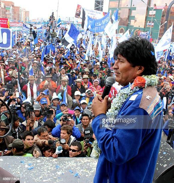 In this handout provided by Ministerio de La Presidencia president of Bolivia and presidential candidate of the Socialist Movement Evo Morales speaks...