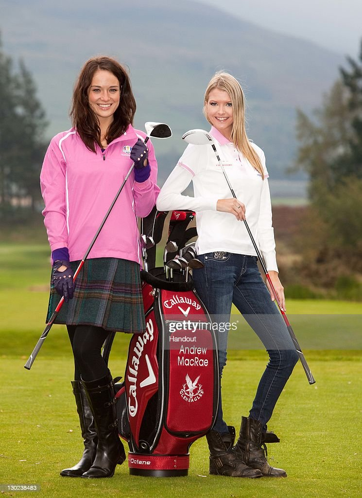 In this handout provided by Miss World Ltd, Miss Scotland Jennifer Reoch (L) with Miss USA Erin Cummins during a golf lesson on the Gleneagles golf course on October 25, 2011 in Gleneagles, Scotland. One hundred and twenty two participants of the Miss World pageant are visiting Scotland as part of a UK tour to celebrate Miss World's 60th birthday. The final of the competition will take place in Earls Court, London on Sunday 6th of November.