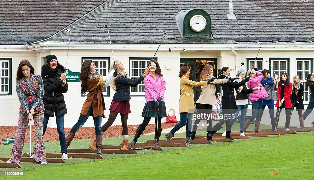 In this handout provided by Miss World Ltd, Miss World 2011 participants are given a golf lesson on the Gleneagles golf course on October 25, 2011 in Gleneagles, Scotland. One hundred and twenty two participants of the Miss World pageant are visiting Scotland as part of a UK tour to celebrate Miss World's 60th birthday. The final of the competition will take place in Earls Court, London on Sunday 6th of November.