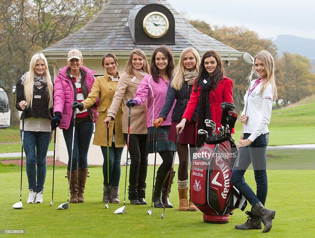 In this handout provided by Miss World Ltd, Miss World 2011 participants, Miss Germany, Sweden, Netherlands, France, Scotland, England, N.Ireland and Miss USA pose during a golf lesson on the Gleneagles golf course on October 25, 2011 in Gleneagles, Scotland. One hundred and twenty two participants of the Miss World pageant are visiting Scotland as part of a UK tour to celebrate Miss World's 60th birthday. The final of the competition will take place in Earls Court, London on Sunday 6th of November.