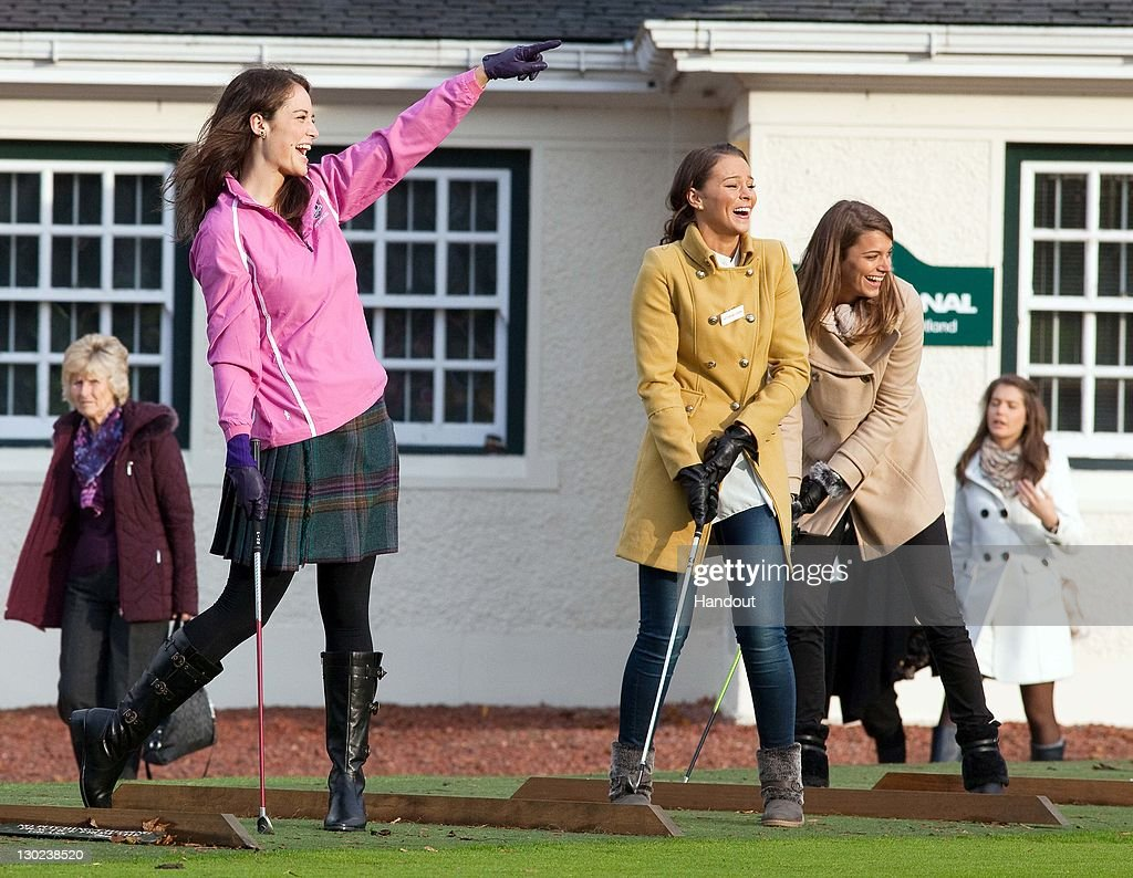 In this handout provided by Miss World Ltd, Miss World 2011 participant, Miss Scotland Jennifer Reoch during a golf lesson on the Gleneagles golf course on October 25, 2011 in Gleneagles, Scotland. One hundred and twenty two participants of the Miss World pageant are visiting Scotland as part of a UK tour to celebrate Miss World's 60th birthday. The final of the competition will take place in Earls Court, London on Sunday 6th of November.