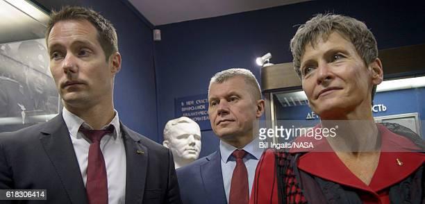In this handout provided by NASA Expedition 50 ESA astronaut Thomas Pesquet left Russian cosmonaut Oleg Novitskiy of Roscosmos center and NASA...