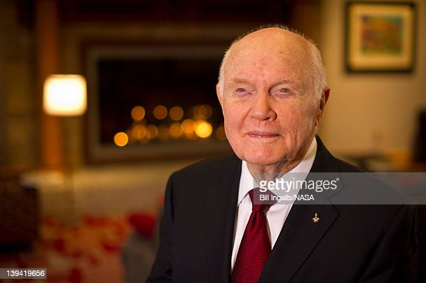 In this handout provided by NASA former US Sen and astronaut John Glenn poses for a portrait shortly after doing live television interviews from the...