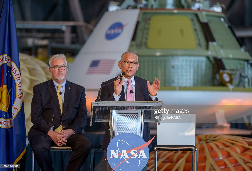In this handout provided by NASA, NASA Administrator <a gi-track='captionPersonalityLinkClicked' href=/galleries/search?phrase=Charles+Bolden+-+NASA+Administrator&family=editorial&specificpeople=15164541 ng-click='$event.stopPropagation()'>Charles Bolden</a> talks about the agency's scientific and technological achievements, and cutting-edge future work, including sending American astronauts to Mars in the 2030s, during a State of NASA event on February 9, 2016 at the NASA Langley Research Center in Hampton, Virginia.