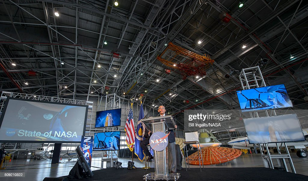 In this handout provided by NASA, NASA Administrator Charles Bolden talks about the agency's scientific and technological achievements, and cutting-edge future work, including sending American astronauts to Mars in the 2030s, during a State of NASA events on February 9, 2016 at the NASA Langley Research Center in Hampton, Virginia.