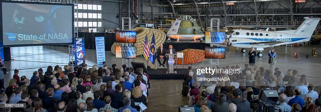 In this handout provided by NASA, NASA Administrator Charles Bolden talks about the agencyâs scientific and technological achievements, and cutting-edge future work, including sending American astronauts to Mars in the 2030s, during a State of NASA event, as NASA Langley Center Director Dave Bowles looks ons on February 9, 2016 at the NASA Langley Research Center in Hampton, Virginia.