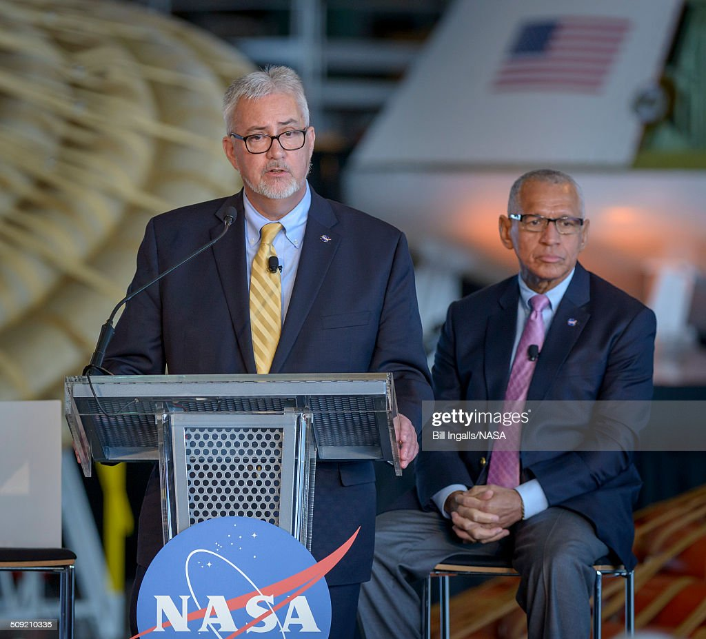 In this handout provided by NASA, NASA Langley Research Center Director Dave Bowles talks about the agencyâs scientific and technological achievements, and cutting-edge future work, including sending American astronauts to Mars in the 2030s, during a State of NASA event, as NASA Administrator Charles Bolden looks ons on February 9, 2016 at the NASA Langley Research Center in Hampton, Virginia.