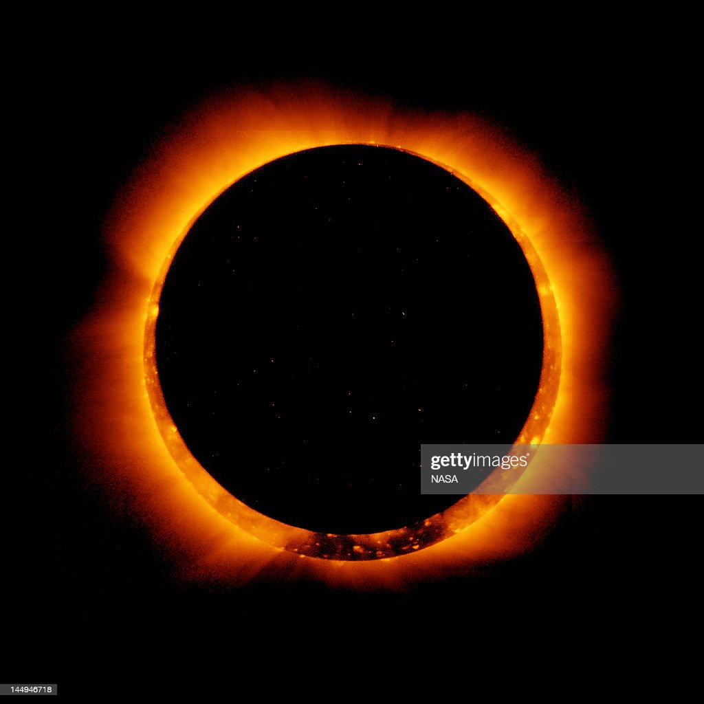 In this handout provided by NASA, sun spots are seen as the moon moves into a full eclipse position after reaching annularity during the first annular eclipse seen in the U.S. since 1994 on May 20, 2012. Differing from a total solar eclipse, the moon in an annular eclipse appears too small to cover the sun completely, leaving a ring of fire effect around the moon. The eclipse is casting a shallow path crossing the West from west Texas to Oregon then arcing across the northern Pacific Ocean to Tokyo, Japan.
