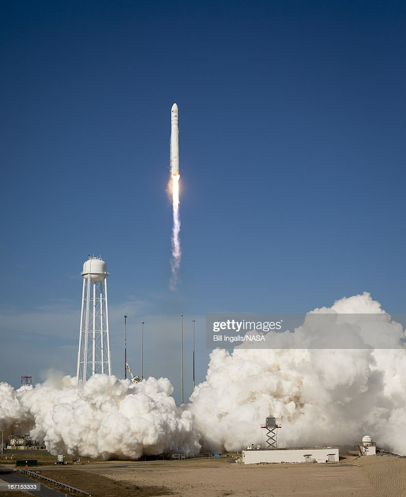 In this handout provided by NASA, The Orbital Sciences Corporation Antares rocket launches from the NASA Wallops Flight Facility on April 21, 2013 in Wallops Islandm, Virginia. NASA's commercial space partner, Orbital Sciences Corporation, were due to launch its first Antares yesterday but that has now been delayed due to wind.