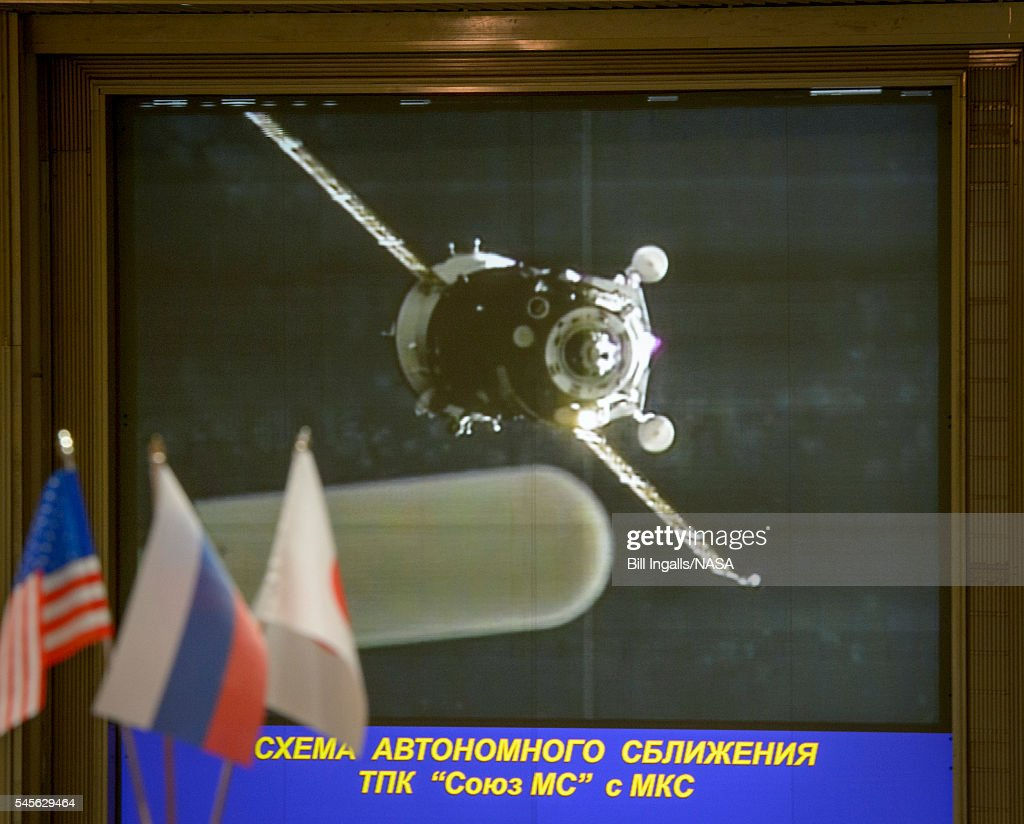 In this handout provided by NASA the Soyuz MS01 spacecraft launches from the Baikonur Cosmodrome with Expedition 4849 crewmembers Kate Rubins of NASA...