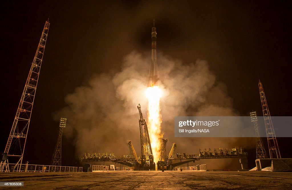 In this handout provided by NASA, the Soyuz TMA-16M spacecraft is seen as it launches to the International Space Station with Expedition 43 NASA Astronaut Scott Kelly, Russian Cosmonauts Mikhail Kornienko, and Gennady Padalka of the Russian Federal Space Agency (Roscosmos) onboard Saturday, March 28, 2015, Kazakh time (March 27 Eastern time) from the Baikonur Cosmodrome in Kazakhstan. As the one-year crew, Kelly and Kornienko will return to Earth on Soyuz TMA-18M in March 2016.