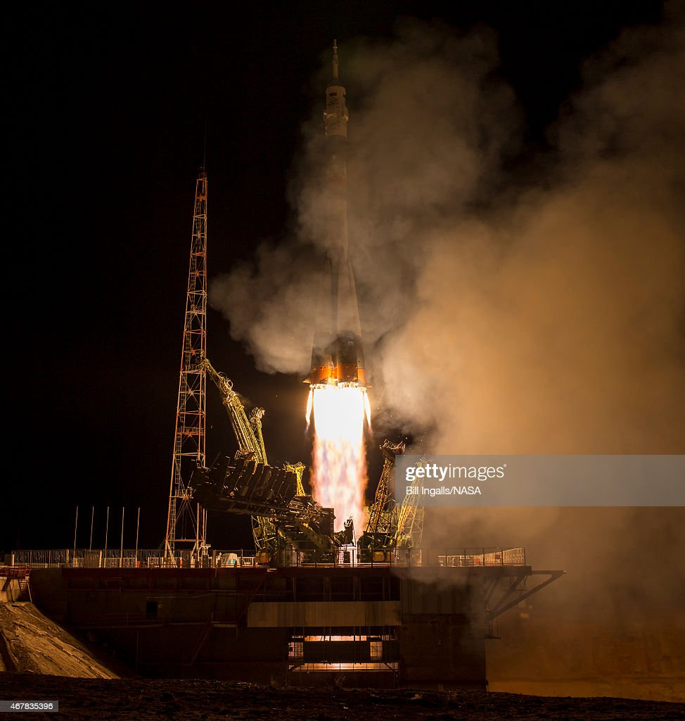 In this handout provided by NASA the Soyuz TMA16M spacecraft is seen as it launches to the International Space Station with Expedition 43 NASA...