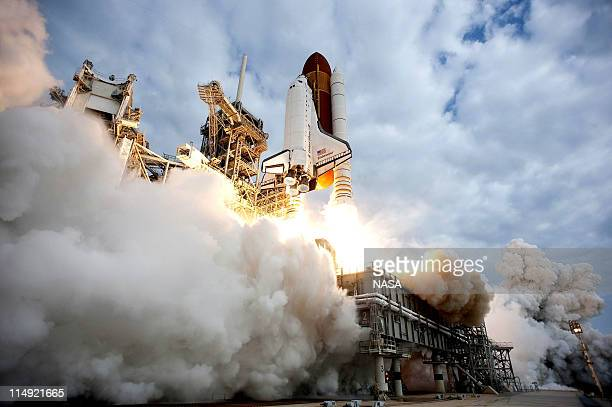 In this handout provided by National Aeronautics and Space Administration NASA space shuttle Endeavour lifts off from Launch Pad 39A at NASA's...