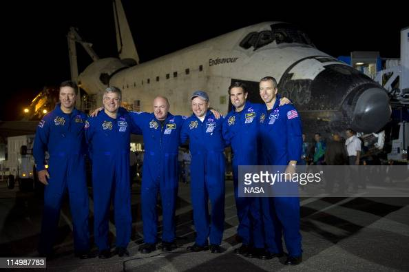 In this handout provided by National Aeronautics and Space Administration The STS134 astronauts from left European Space Agency's Roberto Vittori...