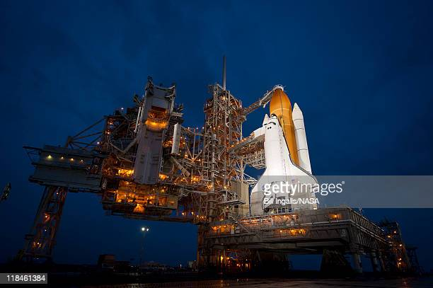 In this handout provided by National Aeronautics and Space Administration the space shuttle Atlantis is seen shortly after the rotating service...