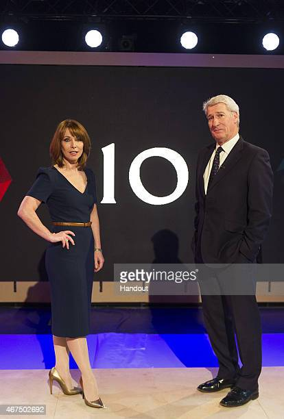 In this handout provided by Sky News Kay Burley and Jeremy Paxman at the rehearsals ahead of 'Cameron Miliband The Battle For Number 10' on March 25...