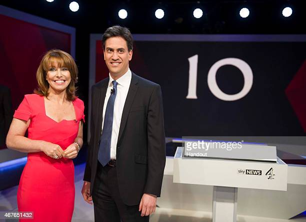 In this handout provided by Sky News Kay Burley of Sky News poses with Labour Party Leader Ed Miliband ahead of the filming of 'Cameron Miliband The...