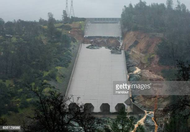 In this handout provided by the California Department of Water Resources The California Department of Water Resources stopped the spillway flow on...