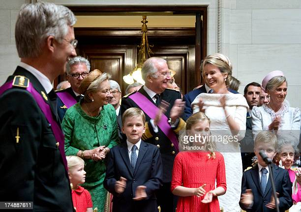 In this handout provided by the Chancellerie du Premier Ministre Queen Paola King Albert II Queen Mathilde of Belgium Princess Eleonore Prince...