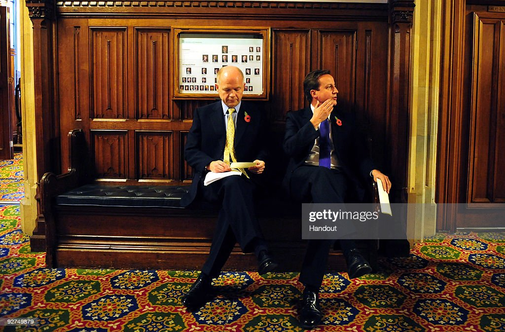 In this handout provided by the Conservative Party, Leader of the Conservative Party David Cameron and William Hague, Shadow Foreign Secretary wait before giving a speech on Europe on November 4, 2009 in London.