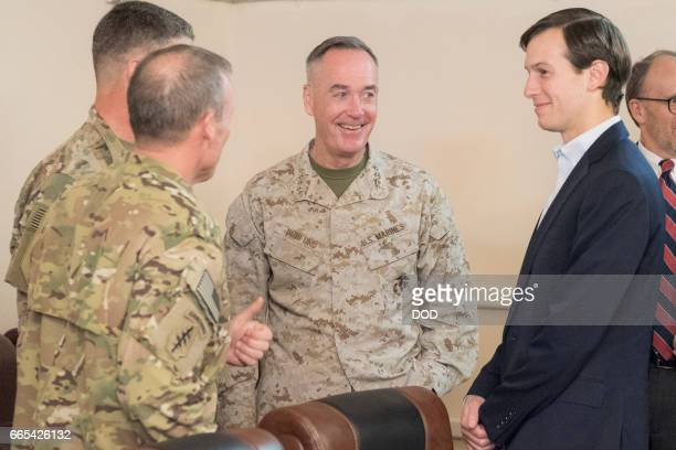 In this handout provided by the Department of Defense Jared Kushner Senior Advisor to President Donald J Trump Marine Corps Gen Joseph F Dunford Jr...