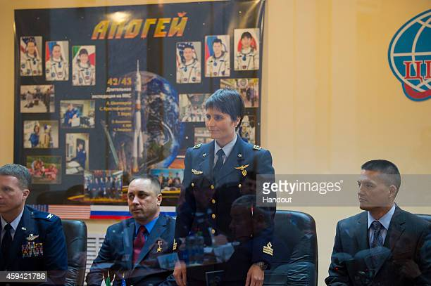 In this handout provided by the European Space Agency ESA astronaut Samantha Cristoforetti is seen at the State Commission meeting to approve the...