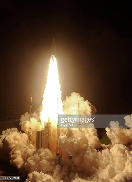 In this handout provided by the European Space Agency ESA's ATV Edoardo Amaldi lifts off on an Ariane5 launcher from the European space centre on...
