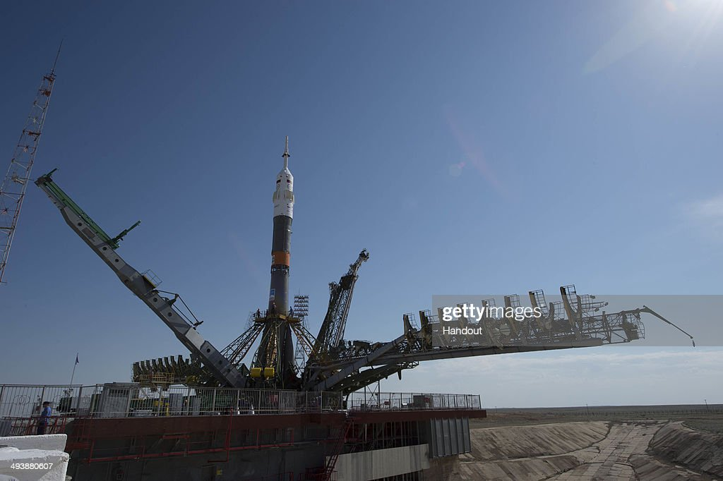 In this handout provided by the European Space Agency The Soyuz spacecraft is rolled out by train to launch pad 1 at Baikonur Cosmodrome launch pad...