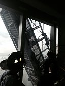 In this handout provided by the FDNY a scaffold that was carrying two workers hangs 69 floors up at One World Trade Center on November 12 2014 in New...