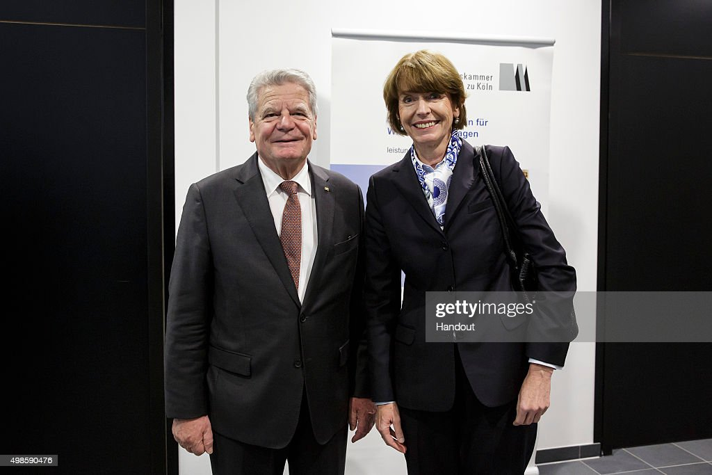 In this handout provided by the German Government Press Office (BPA), German President Joachim Gauck meets Mayor of Cologne Henriette Reker for talks on November 24, 2015 in Cologne, Germany. Henriette Reker was elected as mayor after she was stabbed by an assailant with a far-right background the day before the elections in October.