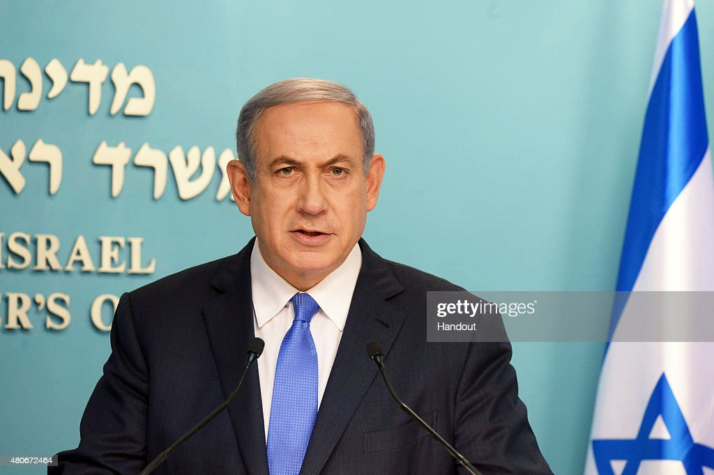 In this handout provided by the Government Press Office, Israeli Prime Minister Benjamin Netanyah delivers his statement regrading the agreement with Iran, on July 14, 2015 in Jerusalem, Israel. The landmark deal will limit Iran's nuclear program in exchange for relief from international sanctions. The agreement, which comes after almost two years of diplomacy, has also been praised by Iranian President Hassan Rouhani.