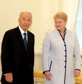 In this handout provided by the GPO President of Lithuania Dalia Grybauskaite and Israeli President Shimon Peres are seen during their meeting on...